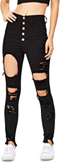 Women's Juniors High Waisted Extreme Ripped Jeans