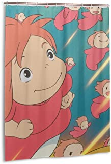 LuciaRivera Ponyo Pony Shower Curtains Bathroom Waterproof Resistant 3D Printing Decoration Poliéster Shower Curtain 55 X 72 Inch with 12 Plastic Hooks