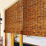 Persianas Enrollables de Bambú,Persianas de Caña,Protección Solar/Aislamiento Térmico Cortinas Opacas,Sala de Estar Salón de Té Tienda Decoración Persianas de Paja Vintage(130x300cm/51x118in)