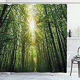 ABAKUHAUS Wald Duschvorhang, Sommer-Baum Untersicht, Klare Farben aus Stoff inkl.12 Haken Farbfest Schimmel & Wasser Resistent, 175 x 200 cm, Fern grün-Gelb