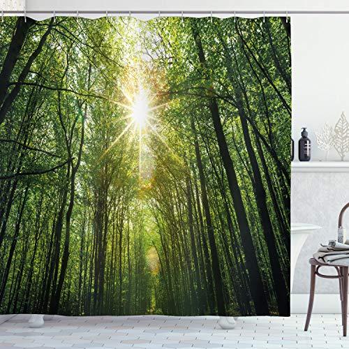 ABAKUHAUS Wald Duschvorhang, Sommer-Baum Untersicht, Klare Farben aus Stoff inkl.12 Haken Farbfest Schimmel & Wasser Resistent, 175 x 240 cm, Fern grün-Gelb