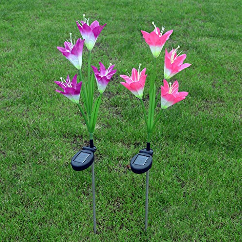 Sillor Outdoor Lighting,Solar Power Flower Light LED Outdoor Garden Yard Path Lawn Landscape Long Rod Lamp 3Pcs(Purple,White,Pink) (Pink, 3Pcs)