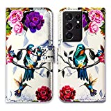 Galaxy S21 Ultra Case,Bcov Hummingbird in Flowers Bird Leather Flip Phone Case Wallet Cover with Card Slot Holder Kickstand for Samsung Galaxy S21 Ultra