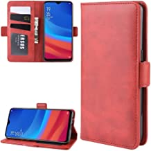 For Oppo A5s (AX5s) Double Buckle Crazy Horse Business Mobile Phone Holster with Card Wallet Bracket Function New(Black) Wangyyy (Color : Red)