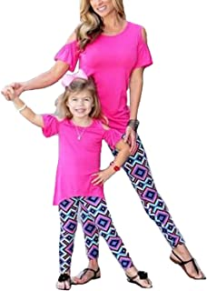 gllive Family Matching Clothes, Mother & me & Daughter Printed Stretchy Skinny Yoga Pants Leggings
