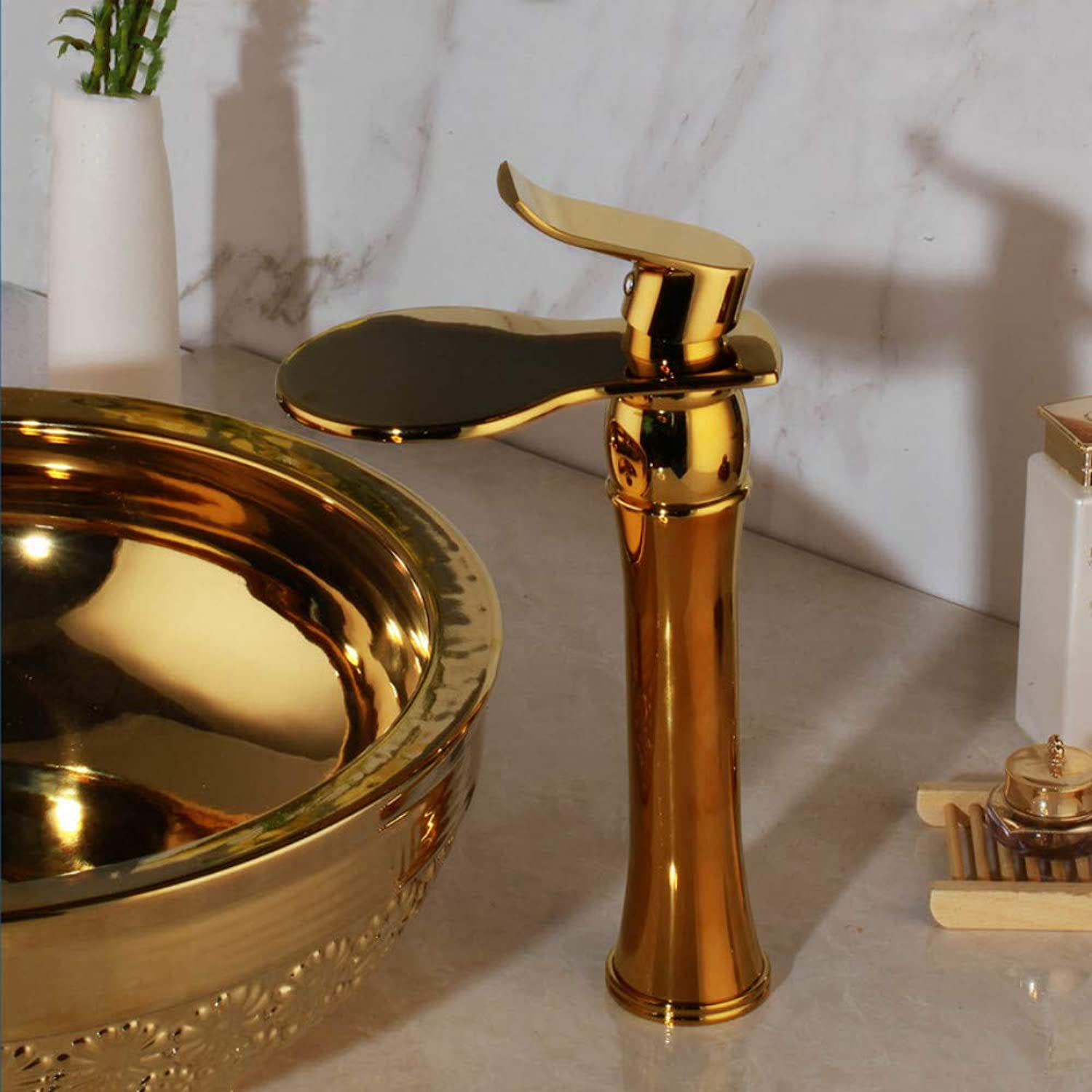 Luxury Tall Single Hole Handle Polished gold Wide Waterfall Spout Bathroom Wash Basin Sink Mixer Tap Faucet