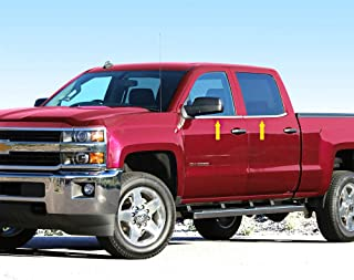 Made in USA! Works with 2014-2018 Chevrolet Silverado Double Cab 4PC Stainless Steel Chrome Window Sill Trim Overlay