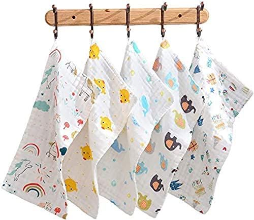 2021 MGGi online 5Pcs Baby Burp Cloths Baby, Six Layer Cotton Gauze Washcloths Reusable Baby Towel of Extra online sale Absorbent and Soft - 10 x 20 inch - 5 Pattern outlet online sale