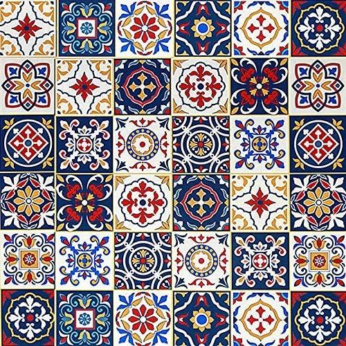Azulejos de mosaico para muebles, decoración de pared, autoadhesivos, azulejos de pared, mosaico, decoración para cocina, armario, regla, mesa, habitación, vinilo, 45 cm x 300 cm, azul, amarillo, rojo
