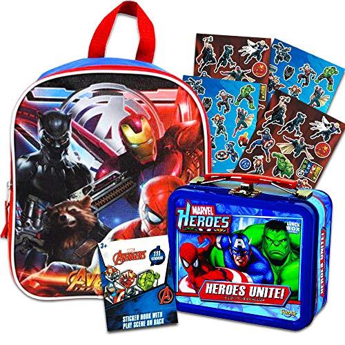 Marvel Avengers Preschool Backpack Toddler (11') with Mini Avengers Lunch Box Tin