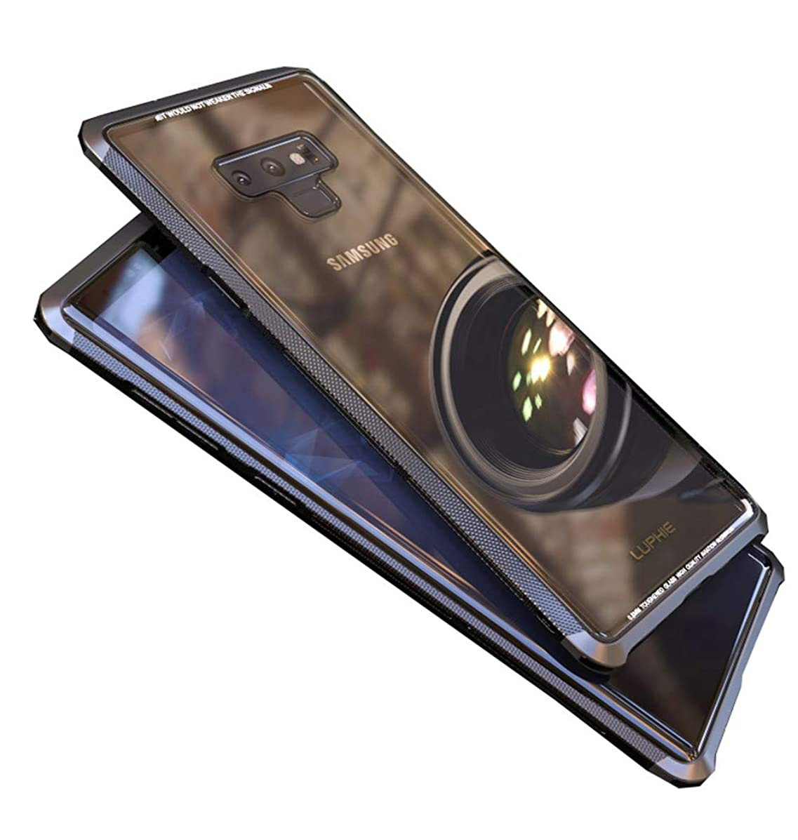 HikerClub Galaxy Note 9 Case Luxury Aluminum PC Bumper Frame + Ultra Clear Tempered Glass Back Protective Cover for Samsung Galaxy Note 9 6.4 inch (Black)
