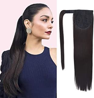 SEIKEA Clip in Ponytail Extension Wrap Around Natural Hairpiece for Women 20 Inch Straight Hair - Black Brown