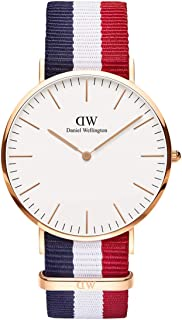 Daniel Wellington Classic Cambridge, Montre Bleu-Blanc-Rouge/Or Rose, 40mm, NATO, pour Hommes