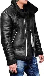 Mens Pea Coat Slim Fit.Men Autumn Winter Highneck Warm Fur Liner Lapel Leather Zipper Outwear Top Coat