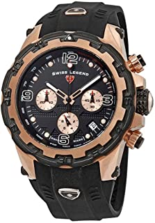 Swiss Legend 15250Sm-Rg-01-Bb Daredevil Chronograph Black Silicone, Dial And Bezel Rose-Tone Ss Watch