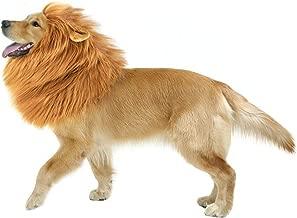 AYOG Lion Mane Costume for Dog, Dog Lion Wig for Dog Large Pet Festival Party Fancy Hair Dog Clothes (Light Brown with Ear)