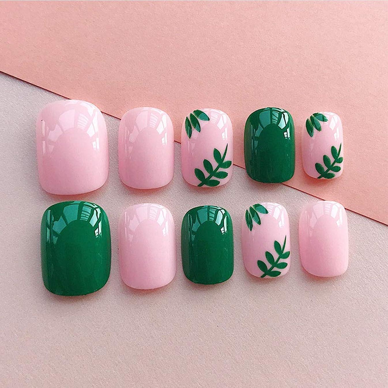 叫び声まだら力LIARTY ネイルチップ 夏の ピンク 緑の葉 優雅 短い 四角形 フルカバー 24枚 12別サイズ つ