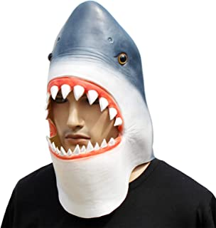 CreepyParty Novelty Halloween Costume Party Latex Animal Head Mask Shark