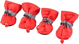 BUYITNOW Water Resistance Dog Shoes Paw Protector with Nonslip Sole Reflective Strap for Small Puppy