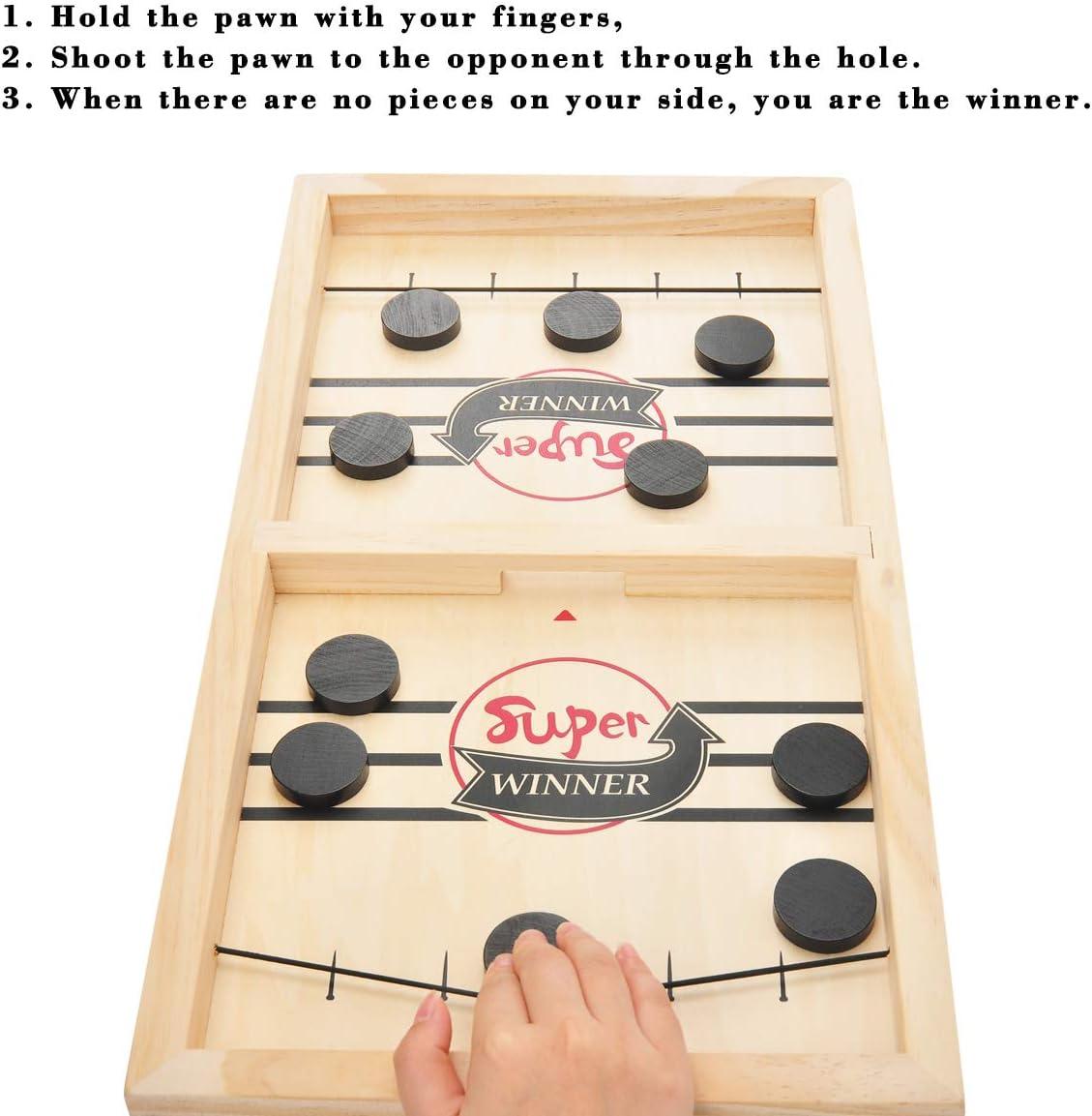 MOMSIV Schnelles Fast Sling Puck-Spiel, Lustiges hölzernes Sling Puck-Gewinner-Brettspiel Brettspiel Tisch Eltern-Kind Interaktives Spielzeug-Partyspiel für Erwachsene Kind