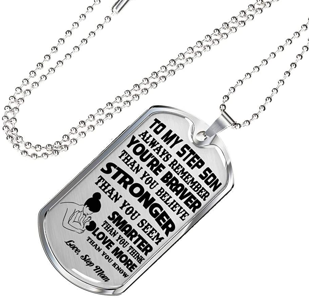 Express Your Love Gifts I Think About You Always Necklace Engraved Stainless Steel Dog Tag w 24 Chain