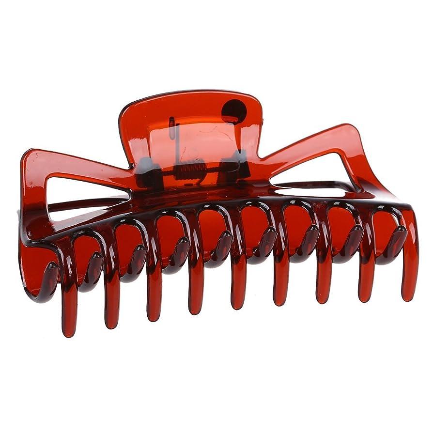 収容するインタラクション読みやすいヘアケア,SODIAL(R) 女性ブラウンプラスチックバスヘアクリップヘアークランプクローバレッタ