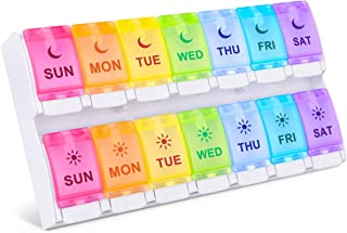 DANYING New Version Large 7 Day Pill Organizer 2 Times a Day, Push Button Weekly Pill Box, AM PM Pill Case, Rainbow Pill Container, Twice A Day Vitamin Organizer