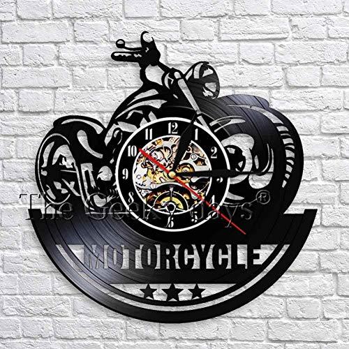 ZhaoCJB Reloj de Pared clásico de Motocicleta 3D con iluminación LED Señal de Garaje Moto Reloj de Vinilo Vintage Relojes de Pared Decoración para el hogar