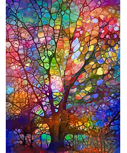 Petrala Paint by Numbers for Adults DIY Oil Painting Kit on Canvas Tree of Life Drawing Colorful Paintworks Artwork for Beginner Without Frame, 16 x 20 Inch