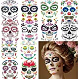 12 Large Sheets Day of the Dead Face Sugar Skull Tattoos, Halloween Sugar Skull Temporary Face Tattoos, Sugar Skull Makeup and Day of the Dead Costume for Men and Women