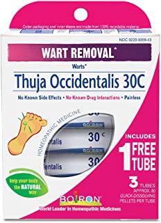 Boiron Thuja Occidentalis 30C Wart Removal Medicine, 3 Count (80 Pellets each tube). Homeopathic, Quick-dissolving Pellets...