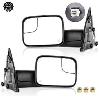 INEEDUP Tow Mirrors Towing Mirrors Fit for 2002-2008 Dodge Ram 1500 2003-2009 Dodge Ram 2500/3500 with Left Right Side Power Operation Heated Without Turn Signal Light