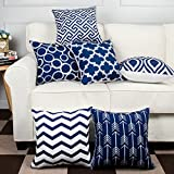 MODERN HOMES Cotton Designer Decorative Throw Pillow Covers/Cushion Covers (Navy Blue, 16x16 inches) - Set of 6