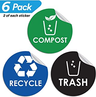 Pixelverse Design - Trash Can Recycle Compost Sticker Set - UV Indoor & Outdoor 4x4 Inches Kitchen Recycling Vinyl Decal - 6 Pack