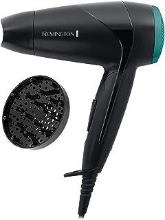 Remington Haartrockner On The Go D1500, 2000 Watt, weltweite Spannungsanpassung, klappbarer Reisehaartrockner, Stylingdüse, kompakter Diffusor, schwarz