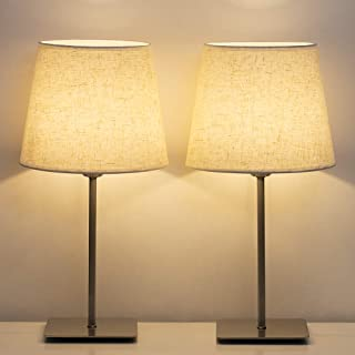 HAITRAL Bedside Table Lamps - Modern Nightstand Lamps Set of 2, Square Desk Lamp for Bedroom, Living Room, Office, College Dorm with Metal Base & Fabric Shade - Silver (HT-TH86-11X2)
