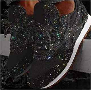 Women Lace Up Sneakers Glitter Autumn Flat Vulcanized Shoes Ladies Bling Casual Fashion Platform Loafers 2020 Casual Sneakers,Black,35