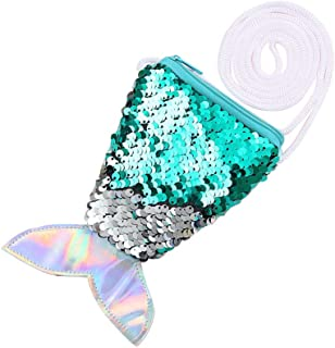FENICAL Meerjungfrau Schwanz Pailletten Geldbörse Crossbody Taschen Sling Geld Ändern Kartenhalter Geldbörse Tasche Geschenke für Frauen Mädchen (hellgrün)