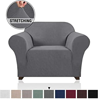 Soft Spandex Chair Cover 1 Piece Furniture Protector Lycra Jacquard Small Checks Sofa Cover for Living Room 1 Seat Cushion Couch Cover Slipcover with Elastic Bottom (1 Seater, Grey)