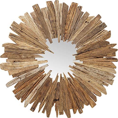 Kare Design Spiegel Bastidon Ø120cm, Wandobjekt, Wandschmuck, Wandspiegel Holz, kleine Spiegelfläche mit Holzrahmen, Holz, (H/B/T) 120x120x3cm