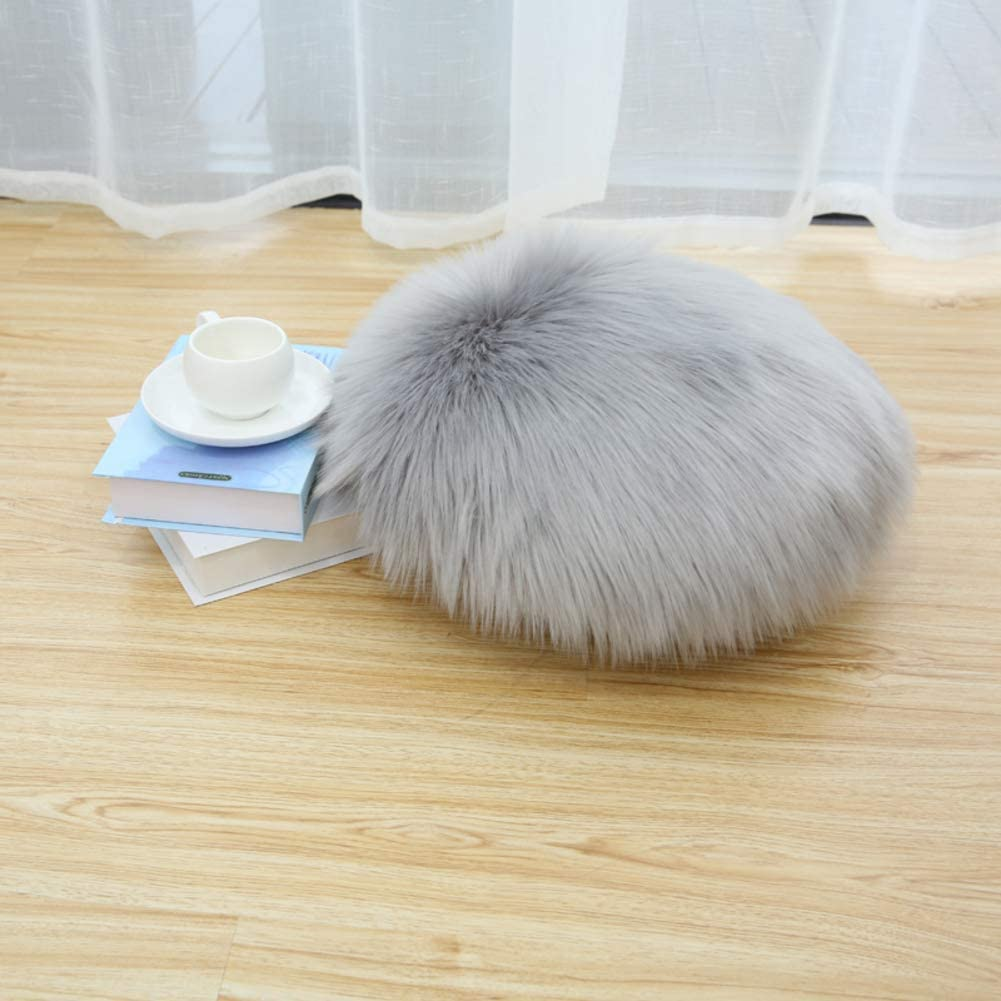 LOVEHOME Round Sheepskin レビューを書けば送料当店負担 Seat Cushion Cover Soft スピード対応 全国送料無料 Fur Fluffy