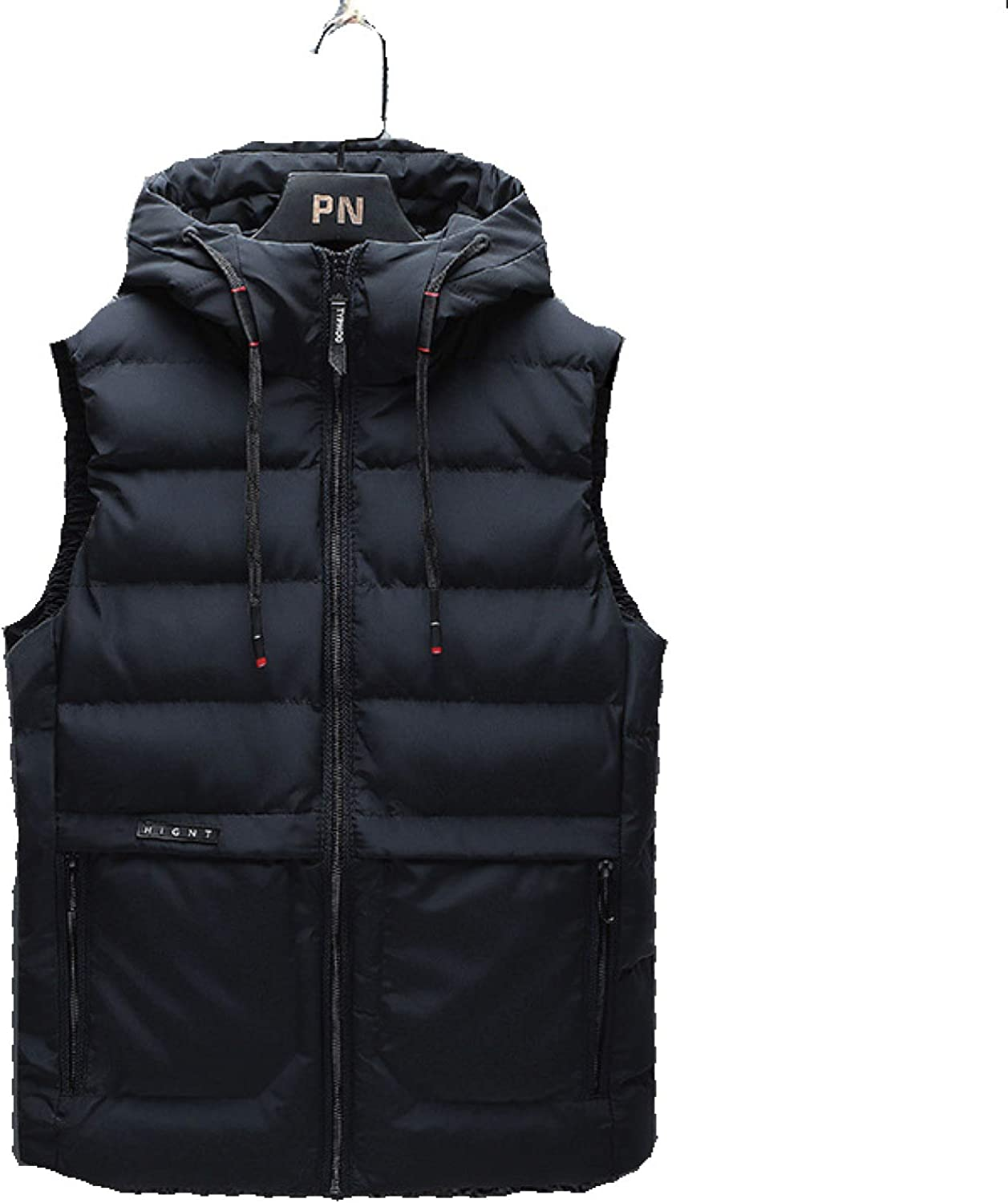 Mens Hood Puffer Quilted Vest Polyester Stand Collar Zipper Up Sleeveless Jacket With Side Pockets Waistcoat Outwear