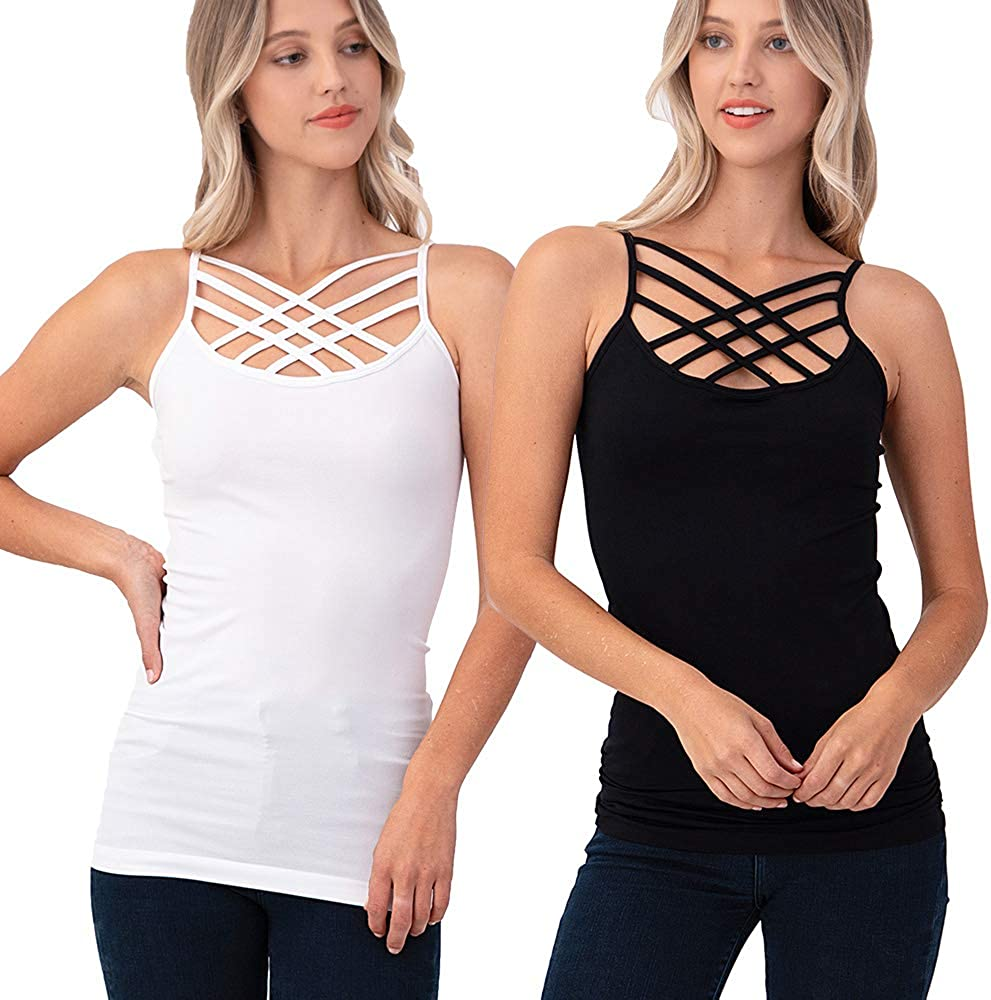 2 Pack Women Criss Cross Strappy Front Basic Round HollowOut Neck Seamless Camisole Tank Top