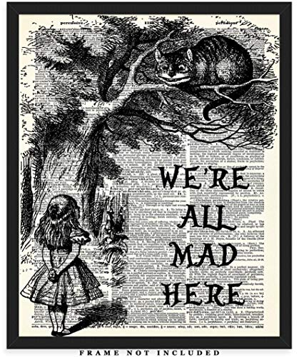 Alice In Wonderland Quote Dictionary Wall Art Print: Unique Room Decor for Boys, Men, Girls & Women - (8x10) Unframed Picture - Great Gift Idea Under $15 for Disney Fans