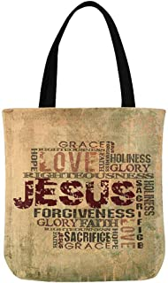 InterestPrint Christian Religious Bible Verse Jesus Words with Cross Canvas Reusable Tote Bag Durable Shopping or Book Bags for Women Men Kids