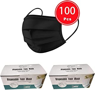 50/100 PCS 3 Ply Face Cover Dustproof, Disposable 3 layer Non-woven Anti-Particle Anti-droplet Anti-pollen Dust-proof Breathable Dustproof, Pack (100PCS, Black)