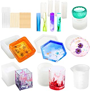 Resin Molds, WEST BAY 37Pcs Silicone Molds Resin Epoxy Resin Casting Art Molds for DIY Cup Pen Soap Candle Holder Ashtray Flower Pot Coaster Pendant Cylinder Cuboid Hexagon Round Molds
