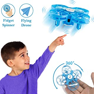 Flying Toys Drones for Kids, WEW Hand Operated Mini Drone for Adult, Flying Drone Toy for Boys and Girls with Following and Negative Mode, UFO Helicopter Gift for Family and Friends - Blue