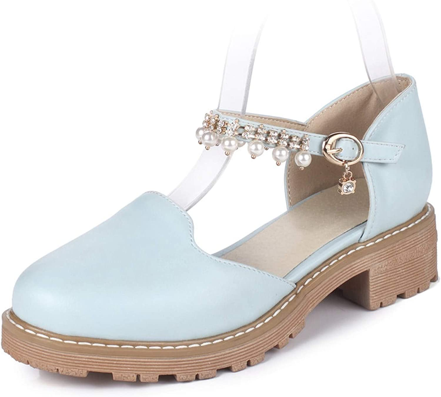 Summer Women Sandals Round Toe Square Heels Summer shoes Rhinestone Ankle Strap shoes Big Size 43