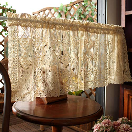 KMSG Biege Retro Crochet Hollow Diamond Pattern Cafe Short Tier Curtains Door Curtain for Small Window Treatment Farmhouse Kitchen Cafe Curtains and Valances Set 1 Piece W59 x17.5 Inch